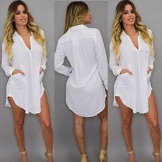 Vestidos Women Blouses Casual Long Sleeve V-Neck Oversize Loose Chiffon Shirt Top Blouse Tops Dress Blusa vetement femme Mini Shirt Dress, Short Mini Dress, Long Sleeve Shirt Dress, Chiffon Shirt, Blouse Dress, Long Sleeve Tops, Chiffon Tops, Plus Size Dresses, Shirt Blouses