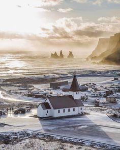 "Vík, Iceland - Icelandair (@icelandair) on Instagram: ""Golden hour in Vík  Photo by @mario.brighenti! #MyStopover"""