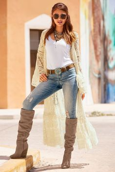 Boho Lace Flare-Sleeve Duster from Boston Proper Street Style best friend perfect good times ever memories forever girlfriend kisses hugs romance love her slender naughty sexy lady gorgeous classy elegant stylish girly Boho Fashion, Autumn Fashion, Fashion Outfits, Womens Fashion, Fashion Trends, Style Fashion, Fashion Jewelry, Stylish Outfits, Fall Outfits