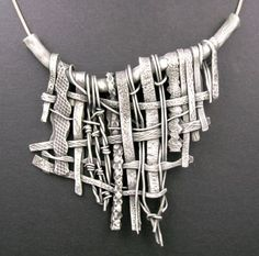 "Woven Metal Clay textured pendant // ""Woven Curtain"" by Hadar Jacobson"