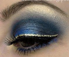I ♥ the gold eyeliner...Navy Blue Eyeshadow!