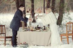 Winter wedding, Christmas, Snow, Forest