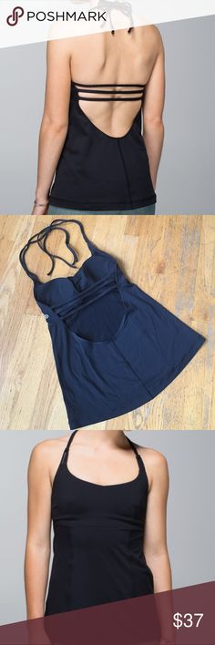 Lululemon Wandering Yogi Tank Tie the halter neck to adjust the fit low back and deep scoop neck. Removable cups. Tag has been removed.In good condition. lululemon athletica Tops Tank Tops