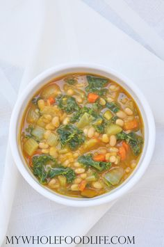 White Bean and Squash Soup with Kale.  A healthy soup recipe that is vegan and gluten free.  Perfect for Fall.