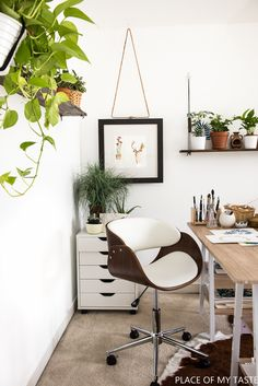 This workspace is my dream workspace. It's fresh, bright and full of greens. This post shows you how to make an easy, yet super functional shelves, too.