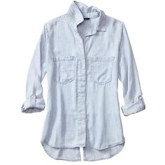 Banana Republic Women Factory Denim Slit Back Button Up Shirt (48 CAD) ❤ liked on Polyvore featuring tops, button ups, long sleeves, long sleeve denim shirt, button-down shirt, button up shirts, denim top and blue button down shirt