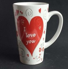 #collectibles vintage antique crystal porcelain china Latte coffee mug - I LOVE YOU - tall coffee mug withing our EBAY store at  http://stores.ebay.com/esquirestore