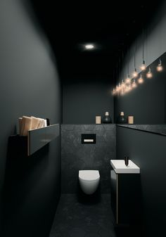 Toiletruimte met toilet en badkameubel van Sphinx # b… Toilet room with toilet and bathroom furniture from Sphinx # bathroom furniture Bad Inspiration, Bathroom Inspiration, Bathroom Ideas, Bathroom Designs, Shower Ideas, Small Toilet Room, Toilet Wall, Guest Toilet, New Toilet