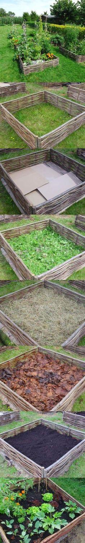 Gardening - building lasagna raised bed garden