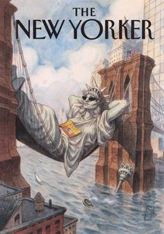 The New Yorker Cover - May Statue Of Liberty Lounges Between The Brooklyn by Peter de Sève The New Yorker, New Yorker Covers, Art Design, Cover Design, Cover Art, Illustrations, Illustration Art, Capas New Yorker, Vintage Magazines