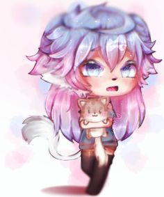 Gift for I hope u like! Aaa,,, i archived this bocus i forgot my watermark reeeee Cute Anime Chibi, Cute Anime Pics, Kawaii Anime, Character Art, Character Design, Kawaii Illustration, Wolf Tattoos, Dope Art, Anime Life