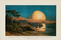 1898 Amazing rare antique JUPITER print, vintage Astronomy lithograph by TwoCatsAntiquePrints
