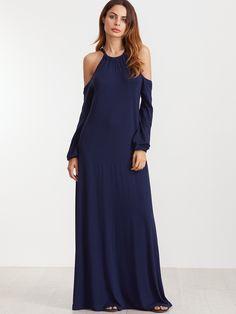 Vestido maxi de manga farol con hombros al aire - azul marino-Spanish SheIn(Sheinside)