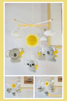Baby Crib Mobile - Koala Mobile - Nursery Felt Mobile - Modern Cute Mobile - Australian Gray Koalas and Sun (Custom Color Available) Nursery Themes, Nursery Decor, Diy Bags Patterns, Baby Crib Mobile, Baby Mobiles, Felt Mobile, Baby Bedroom, Baby Shower, Baby Boy Nurseries