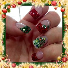 Christmas gel nails with Christmas trees, holly and green and red glitter.