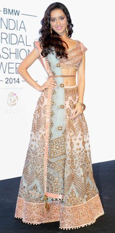 Shraddha Kapoor looked ethereal in a beautiful pastel bridal lehenga at the logo launch of BMW India Bridal Fashion Week 2014 in New Delhi. #Style #Bollywood #Fashion #Beauty
