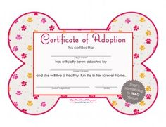 Certificate of Adoption - Girl #PoochPawty #PuppyParty #DogAdoption