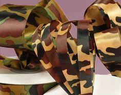 "New 3 yards Satin Camouflage Ribbon 1-1/2"" wide. Military Camo Ribbon Dark or Light"