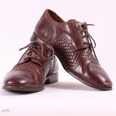 Classy Mens Brogues / Brown Leather Shoes / sz EUR by BetaPorHomme, $46.00