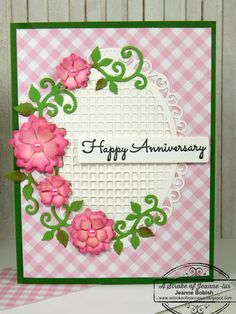 A Stroke of Jeanne-ius: Beautiful Happy Anniversary Card Happy Anniversary Cards, Marriage Anniversary, Wedding Anniversary, Fusion Ink, Doodle Lettering, Card Sayings, Flower Petals, Happy Birthday, Greeting Cards