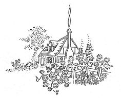 Charming cottage vintage embroidery pattern