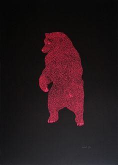 Ours Sérigraphie sur papier Keaykolour Original Ébène 300 gr/m2 Artwork, Bears, Atelier, Paper, Work Of Art, Auguste Rodin Artwork, Artworks, Illustrators
