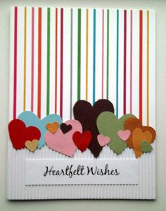 kort - card with colourfull hearts and stribes
