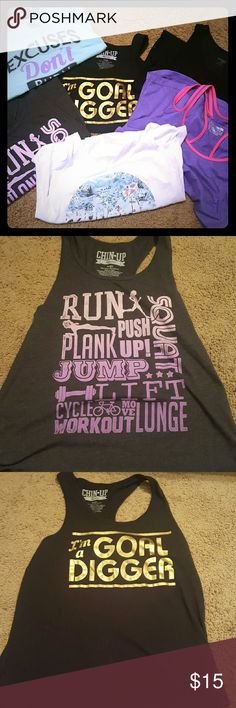 6 workout tanks 6 really cute workout tanks - light blueish green shirt has small stain on bottom (barely noticeable) Tops Tank Tops