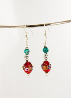 Indian Glass and Turquoise Sterling Silver Dangle by BaconsKeepers