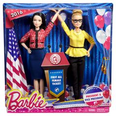 Explore the world of politics with this doll two-pack that includes Barbie President and Vice President dolls together for the first time! From campaign tales to election events to decision-making moments, these partners are ready to inspire in polished outfits worthy of the White House. Barbie doll as President takes the lead in a red and white jacket with smart black detailing, a classic blue skirt, sparkling earrings and black shoes. The Vice President doll is a strong second-in-command…