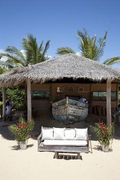 UXUA's main beach bar - built by restoring an abandoned fishing boat lying on Trancoso's beaches. #Bahia