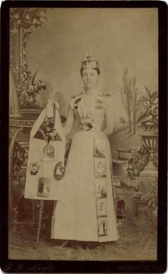 ca. 1889, [cabinet card, portrait of woman advertising a photographer for the Trade Carnival in Greenville, Texas; cabinet card portraits are attached to her dress, while carte de visites make up her headpiece], Fayette W. Knight  via Southern Methodist University Libraries, DeGolyer Library, Lawrence T. Jones III Texas Photographs Collection