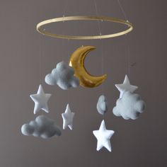 Felt nursery mobile with clouds stars and moon by MilbotandChooky on Etsy https://www.etsy.com/listing/241030918/felt-nursery-mobile-with-clouds-stars