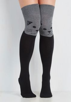 Fur the Win Thigh Highs in Cat. Every outfit becomes a stylish victory when sporting these critter printed socks! #grey #modcloth