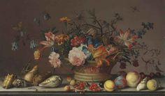 Балтазар ван дер Аст. Натюрморт с цветами в корзине, раковинами, фруктами и насекомыми