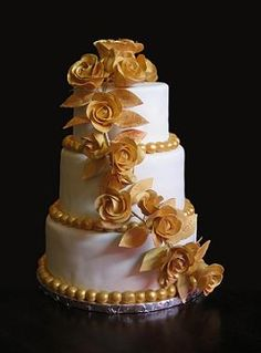 Weddings Cakes & Cake Delivery in Boston MA Anniversary Cake Pictures, Golden Anniversary Cake, 50th Wedding Anniversary Cakes, 50th Anniversary Decorations, Anniversary Ideas, Elegant Wedding Cakes, Elegant Cakes, Beautiful Wedding Cakes, Beautiful Cakes