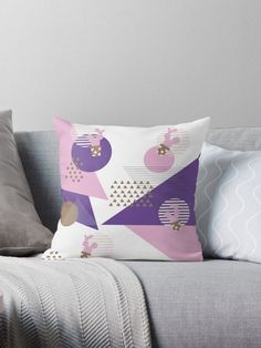 Memphis Ultra Violet Cactus Triangle throwpillow by LisaLiza.  #ultraviolet  #retro #vintage #abstract #geometric #purple #triange #confetti #floral #plant #pattern #giftideas #homedecor #throwpillow #pillow #cushion #rebubble