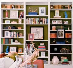 painted bookshelves in family room.but color a little lighter. Painted Bookshelves, White Bookshelves, Built In Bookcase, White Shelves, Green Shelves, Barrister Bookcase, Bookshelf Styling, Bookshelf Organization, Bookshelf Ideas