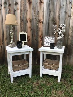 ***** FREE GIFT! - Order during the month of November and get a free set of 3 wall arrows in the same color scheme as your table!***** These distressed end tables will add that Farmhouse Style look to any room! These will look great on opposite sides of your bed, beside your sofa,