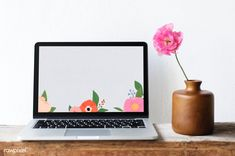 Blank laptop screen mockup by a pink peony | premium image by rawpixel.com / KUTTHALEEYO Computer Mockup, Flower Photos, Flower Ideas, Pink Peonies, Peony, Social Media Template, Royalty Free Images, Free Design, Design Projects