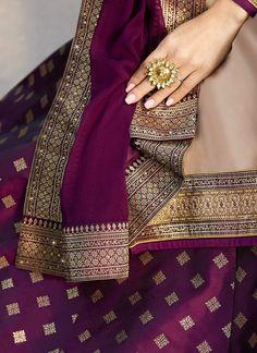 Beige And Purple Embroidered Lehenga Kurti Set - Hatkay