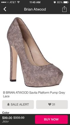 Brian Atwood lace chunky heels