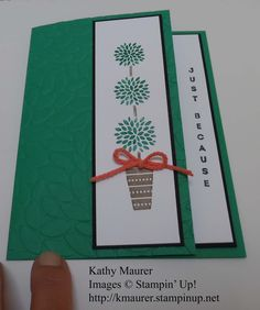 Card made with Stampin' Up!'s Vertical Greetings Stamp Set and Petal Burst Embossing Folder. For details, go to my Monday, July 18, 2016 blog at http://kmaurer.stampinup.net