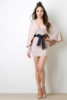 Shop Suede Bow Belt Long Sleeve Cape Dress featuring long sleeves, plunging v-neckline, cape-like shawl, and faux suede bow belt. Sexy Dresses, Nice Dresses, Girls In Mini Skirts, Model Outfits, Cape Dress, Beautiful Girl Image, Long Sleeve Mini Dress, Feminine Style, Girl Fashion