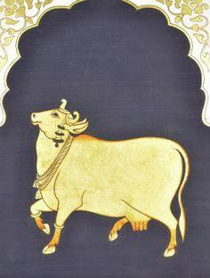 Nandi Pichhwai - x Shiva Art, Krishna Art, Lord Krishna, Pichwai Paintings, Indian Art Paintings, Cow Painting, Sketch Painting, Silk Painting, Madhubani Art