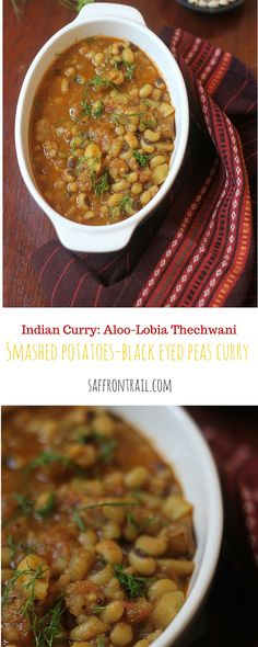 Smashed Potato & Black Eyed Peas Curry - Aloo Ki Thechwani Thechwani is a rustic curry from Uttarakhand, made using smashed potatoes and/or radishes. Try out my version of potato-black eyed peas, prepared Thechwani s...