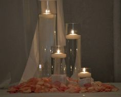 Wedding Flowers   Bridal Bouquets   Centerpieces   Flowers #floatingcandles #rosepetals