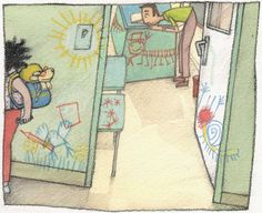 Ilustración de Rocío Martínez en Irene Pintaparedes (texto de Chema Hernández Aguiar).