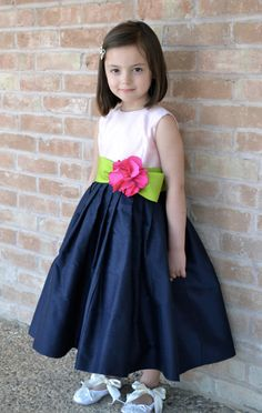 Flower Girl Dress, 1st Year Birthday Dress, Easter Dress, Special Occasion Dress, Birthday Dresses - Pale Pink, Lime Green, Hot Pink, Navy on Etsy, $199.99