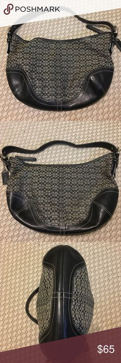 """Black & Grey Jacquard style 6351 Hobo Bag Like new! An authentic COACH hobo style handbag. Black leather trim, and bottom. Coach """"c"""" pattern on canvas material. Single leather strap, with buckles...sturdy with grip. Coach Bags Hobos"""